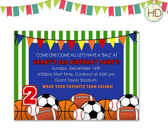sport birthday party invitations ideas