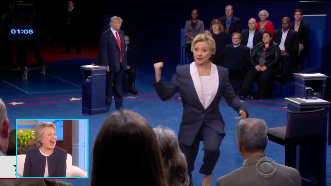 Hillary Dancing With Red Sweater Guy To Fight Song - Debate Dance ...