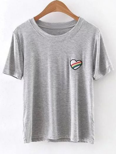 170afd1e481 Shop Grey Short Sleeve Heart Embroidery Casual T-shirt online. SheIn offers  Grey Short Sleeve Heart Embroidery Casual T-shirt   more to fit your  fashionable ...