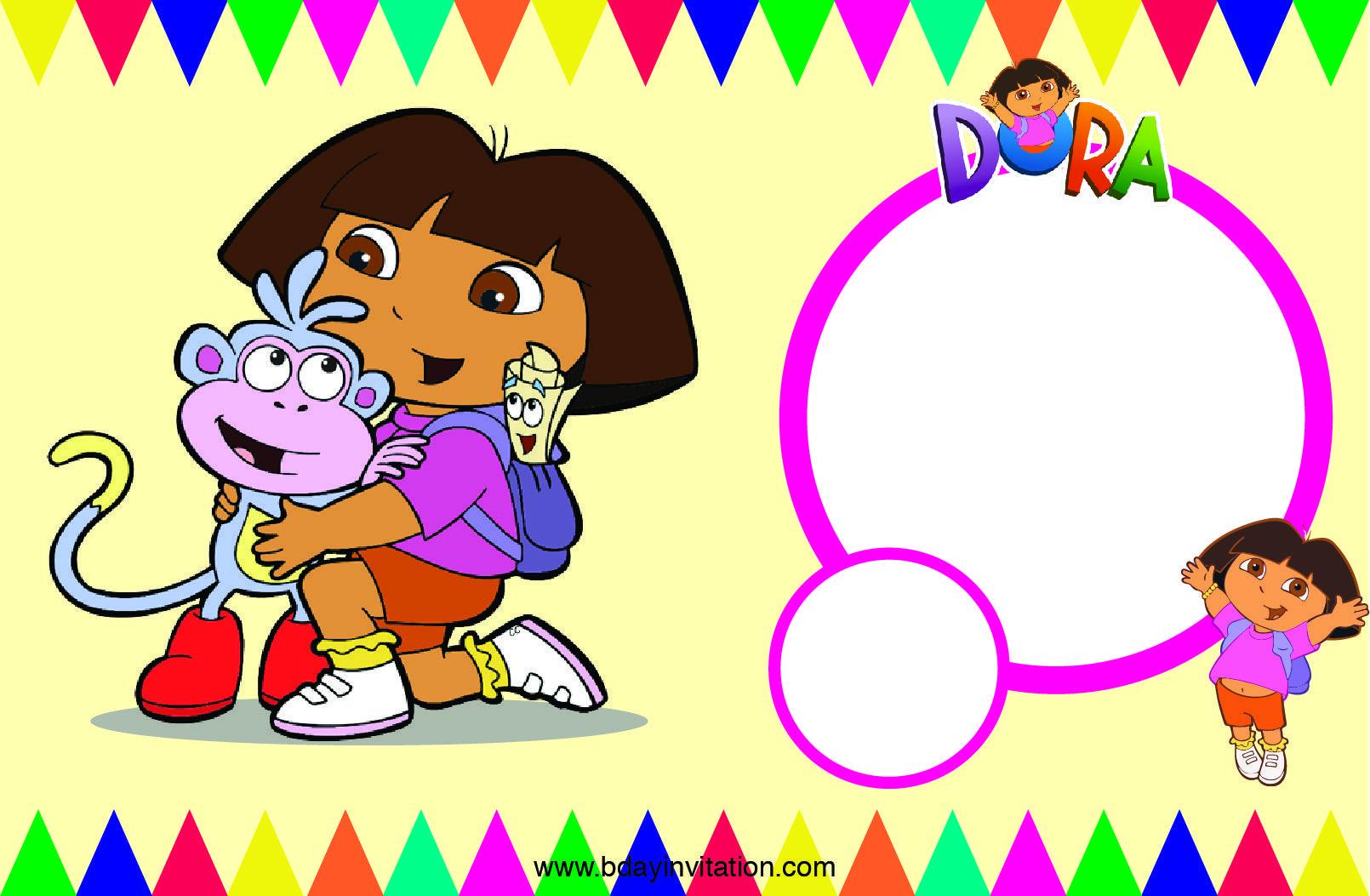 Free FREE Printable Dora The Explore Birthday Invitation Template ...
