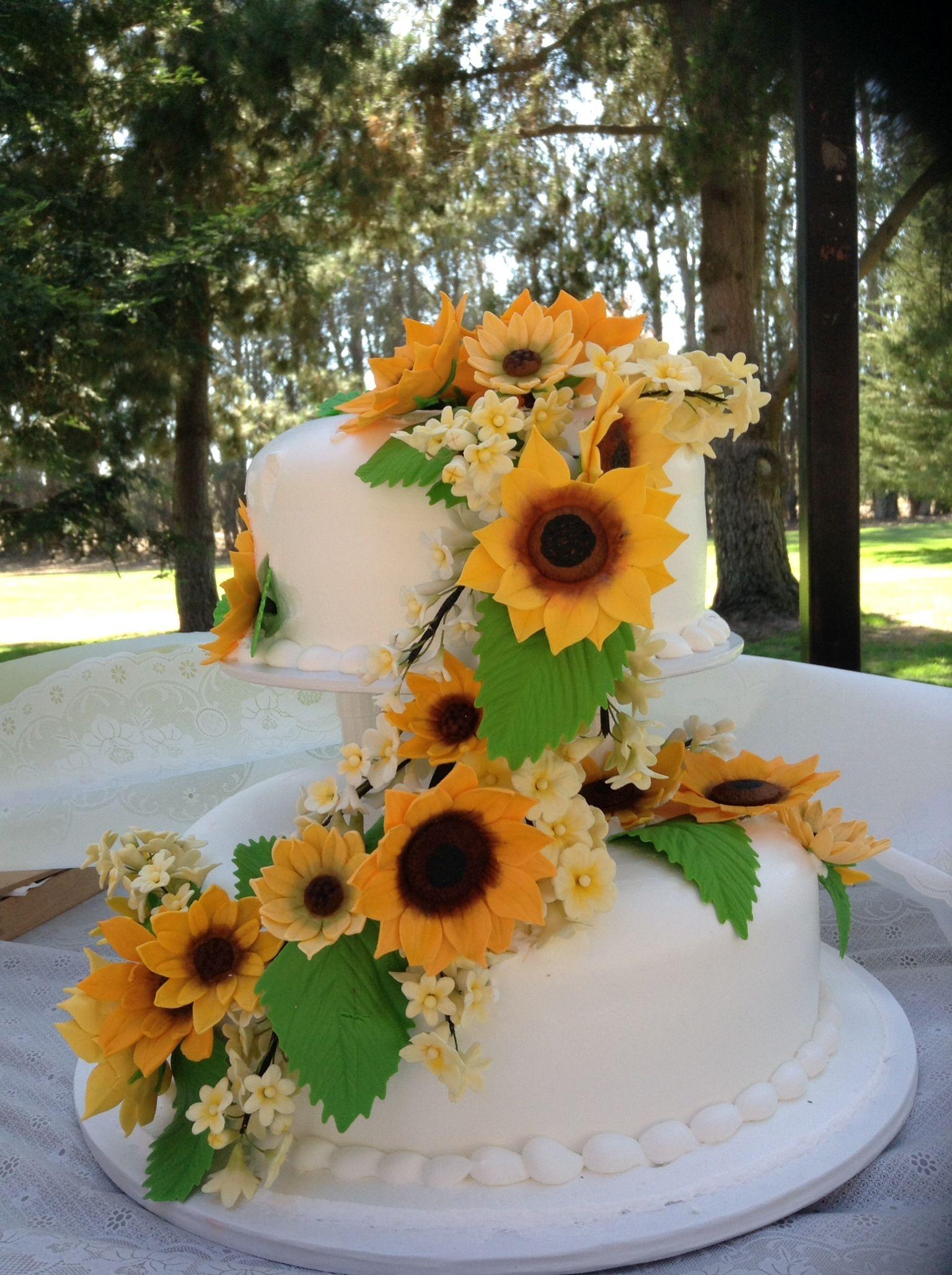 Fondant sunflower spray for wedding cake sunflower