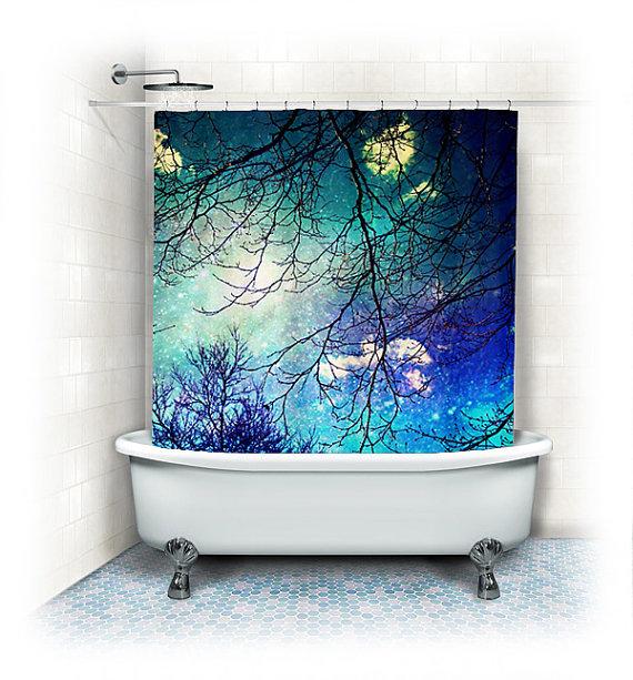 Aqua Fabric Shower Curtain Night Sky Clouds Stars Sky Night