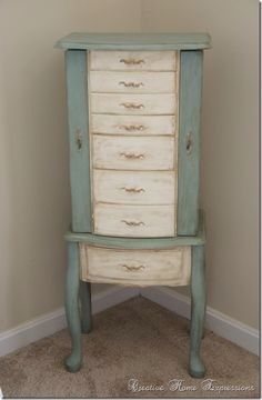 Refurbished Standing Jewelry Box Jewelry Armoire Makeover