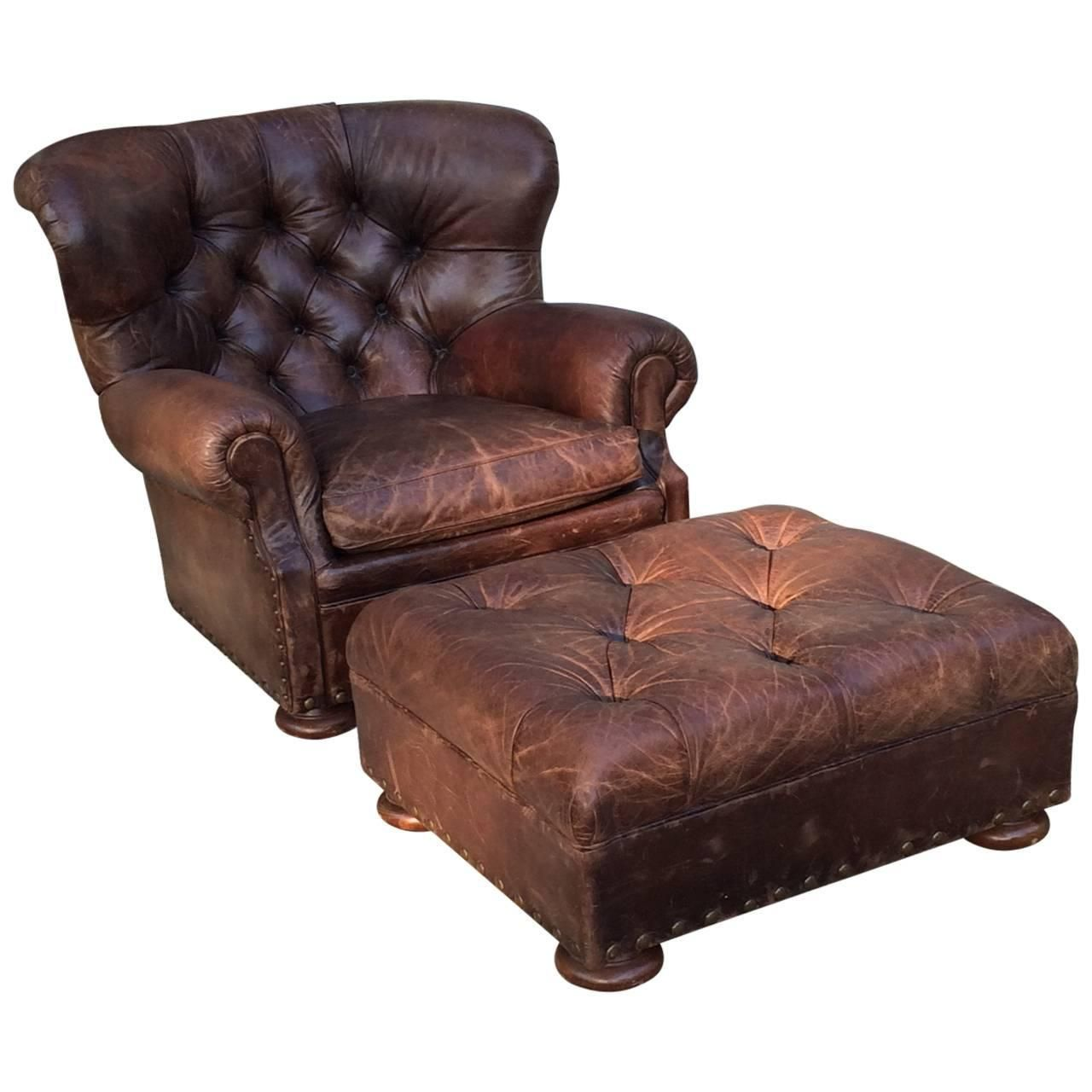 Handsome large ralph lauren button tufted club chair and