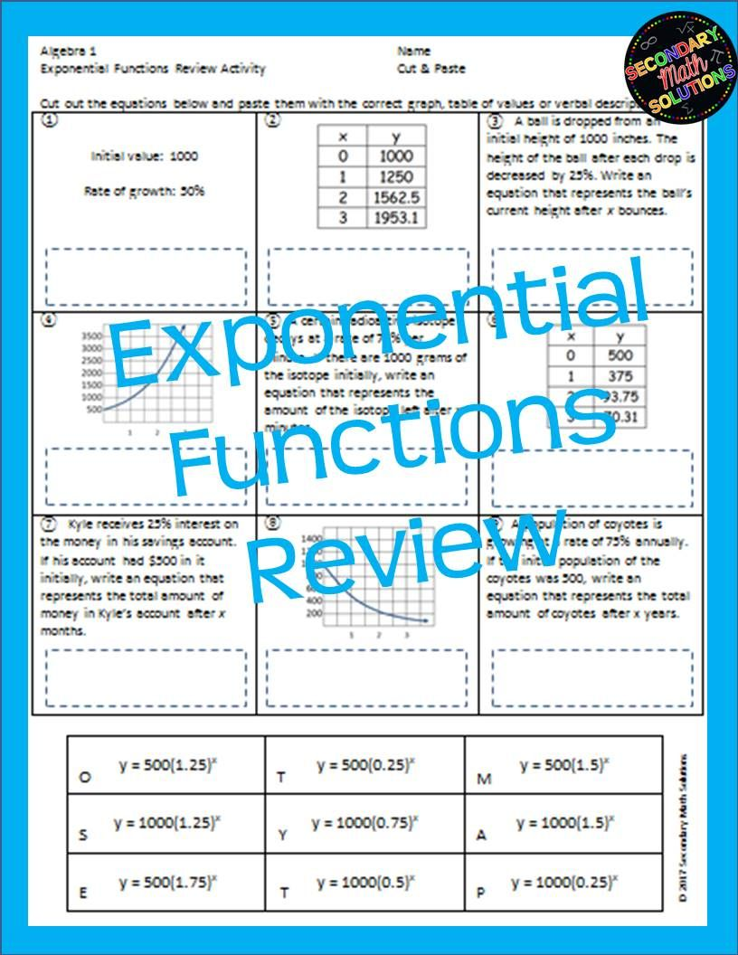 Exponential Functions Review Activity (A9C, A9E) | Math, Algebra and ...
