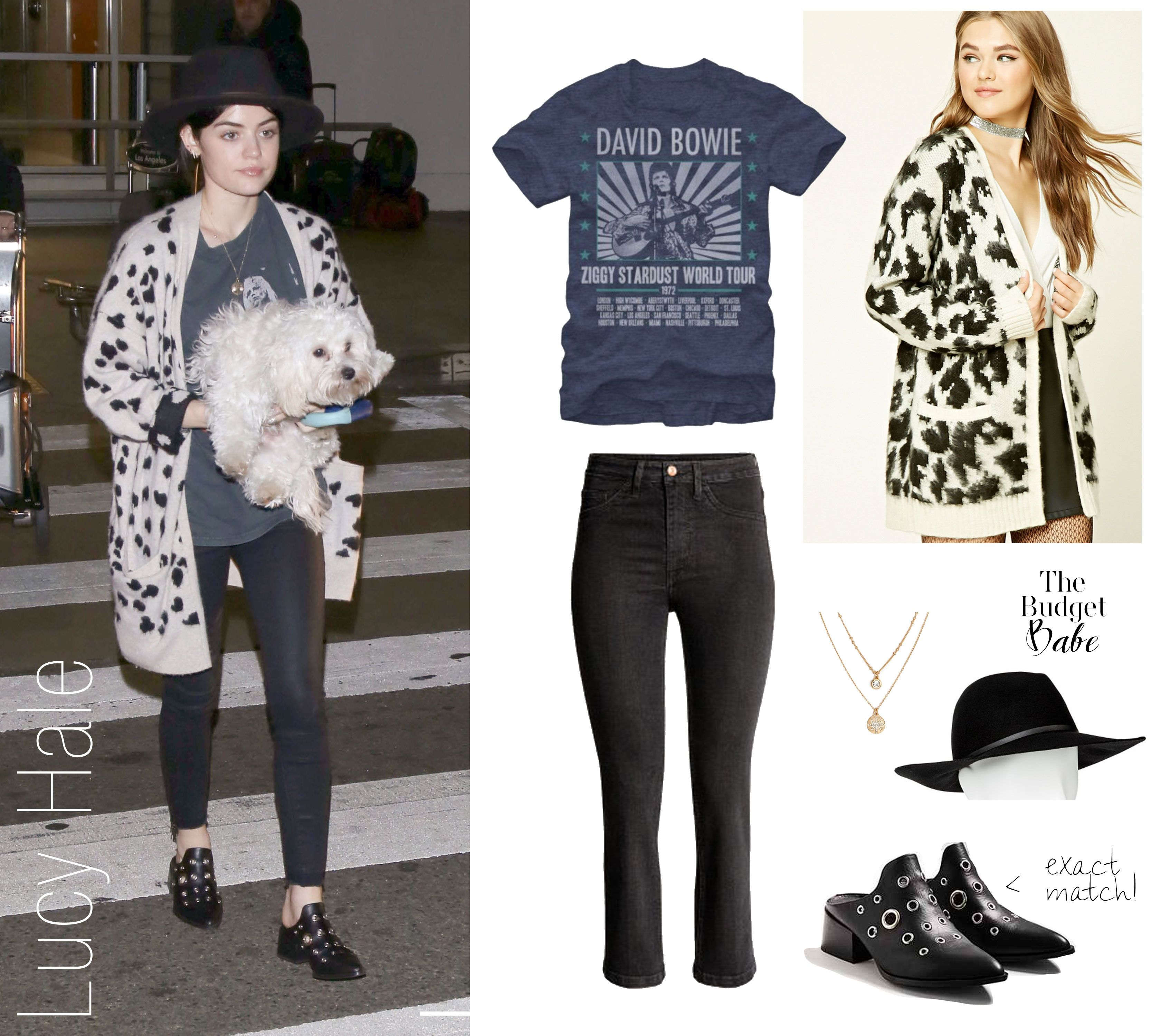 3d2006f6e9e4 Lucy Hale's Celebrity Look for Less Animal Print Cardigans, Celebrity  Outfits, Celebrity Look,