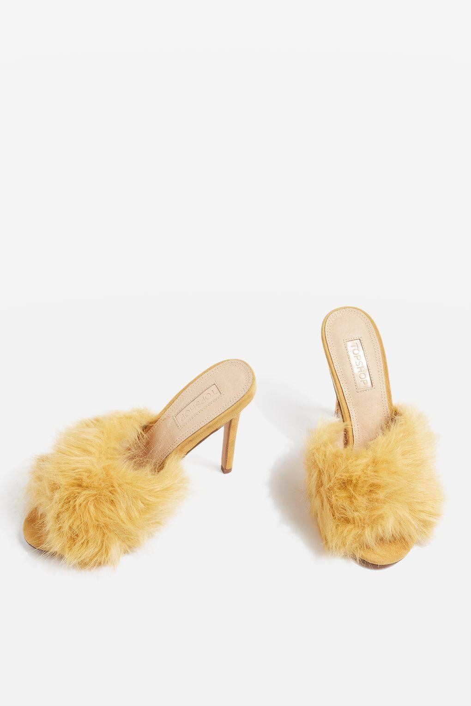 Roa Faux Fur Mule Sandals Fur Mules Sandals Heels Statement Shoe