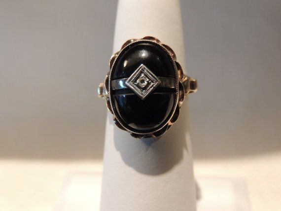 Victorian 14k Gold Diamond Black Onyx by OceanPointVintage on Etsy, $120.00