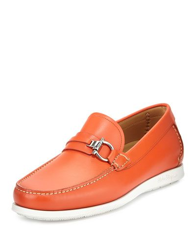 b91922153f23 SALVATORE FERRAGAMO Lorien Leather Side-Bit Boat Loafer, Orange. # salvatoreferragamo #shoes #flats
