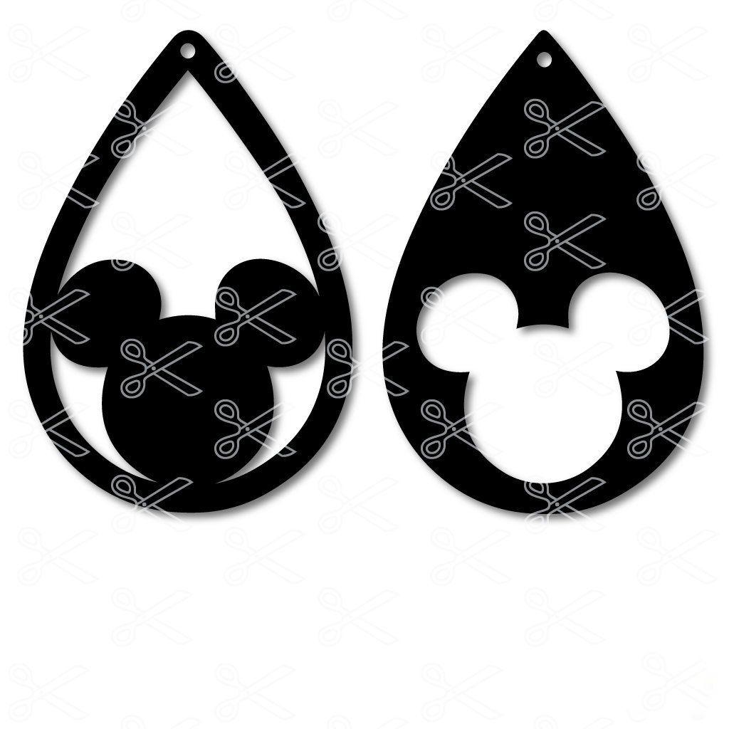 Download Mickey Mouse TearDrop Earring SVG DXF | Disney earrings ...