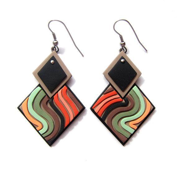 Square Earrings, Green Earrings, Orange Earrings, Big Earrings, Geometric Earrings, Geometric Jewelry, Statement Earrings, Christmas Gifts