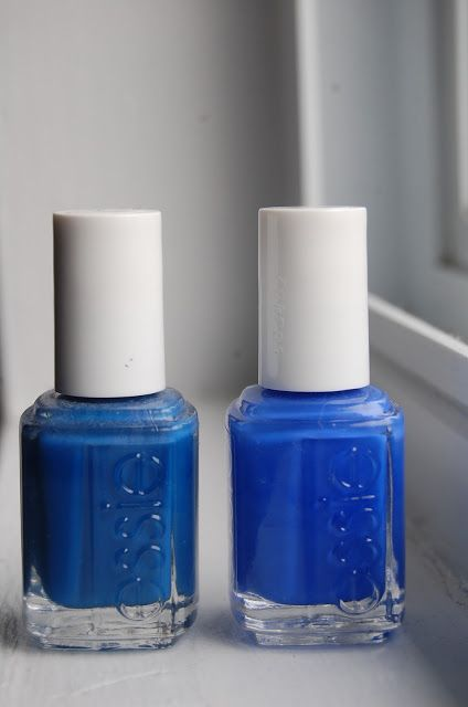 2 blues from Essie - a comparison of Mesmerized & Butler Please