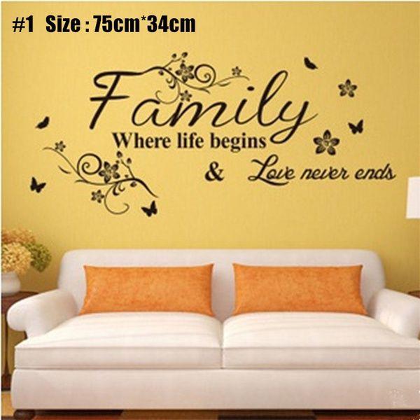 family flower vine Wall Stickers creative Art DIY PVC Decorations ...