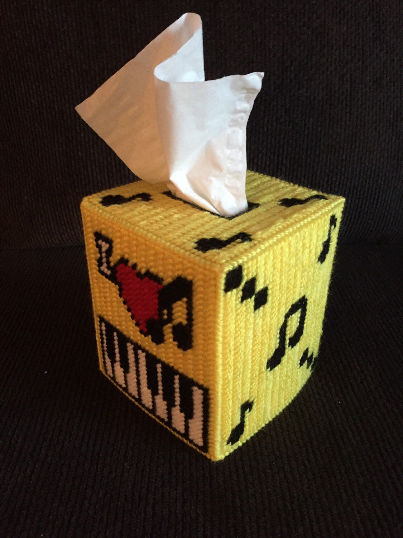 I love music plastic canvas tissue box cover tissue etsy