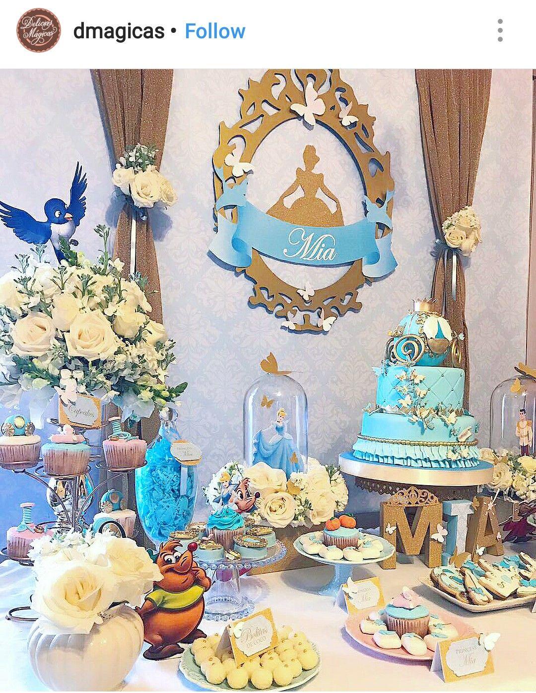 Cinderalla Birthday Party Dessert Table And Decor Cinderella Party Decorations Cinderella Quinceanera Themes Cinderella Birthday