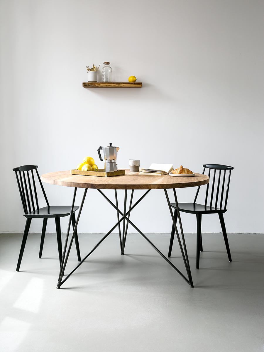 NUTSANDWOODS Oak Steel Table Round - Tisch | Mesas de ...