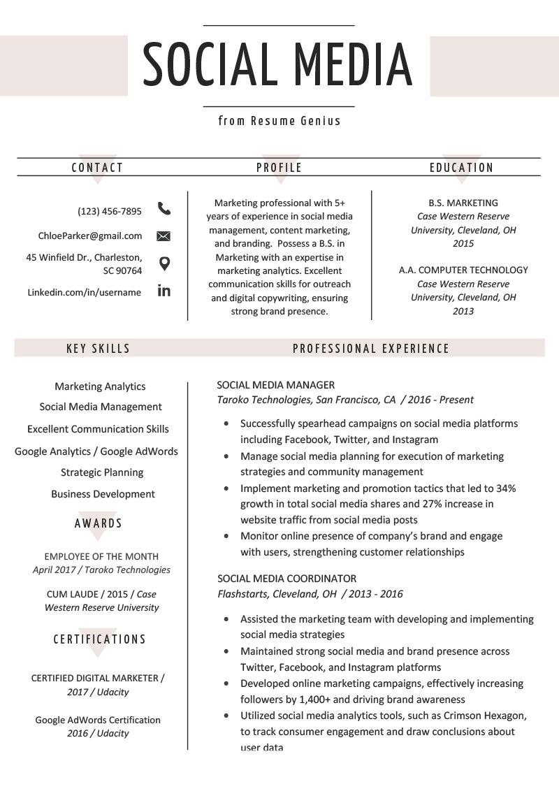 Social Media Resume Example & Writing Tips Marketing