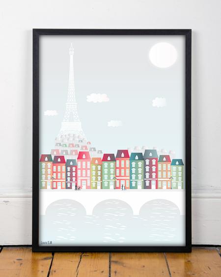 Paris , Abbildung, Metall, Städten von Ilustración y más auf DaWanda.com