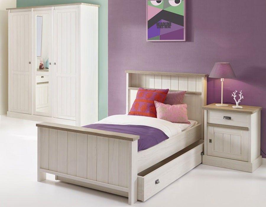 Chambre enfant contemporaine couleur chêne blanc JEANNE 2 Chambre