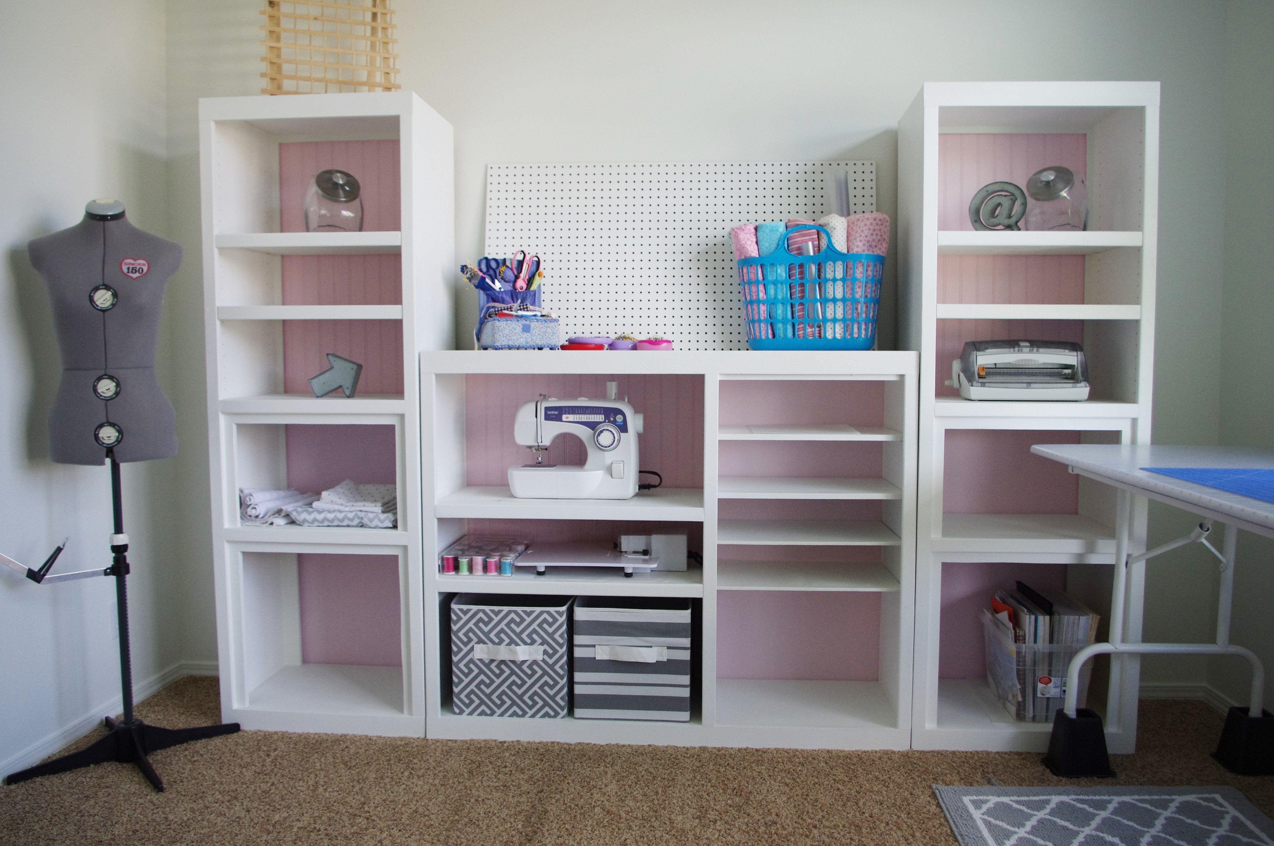 Diy Craft Room Wall Storage Organizer Unit Furniture Makeover Project Tutorial From A 90s Oak Entertainment Center Room Design Ideas Diy Diy Craft Room Craft Room Design
