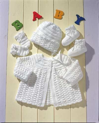 "20/"" Baby Dress Cardigan /& Bonnet 4 Ply Knitting Pattern Prem 3 Months 12/"""