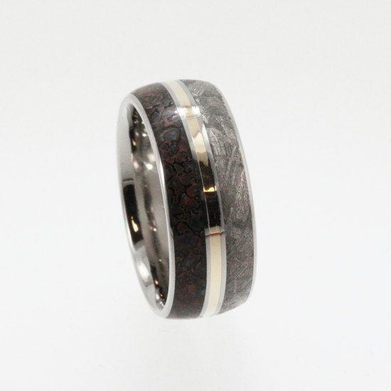 custom wooden scrabble board meteorite wedding bandmeteorite - Dinosaur Bone Wedding Ring
