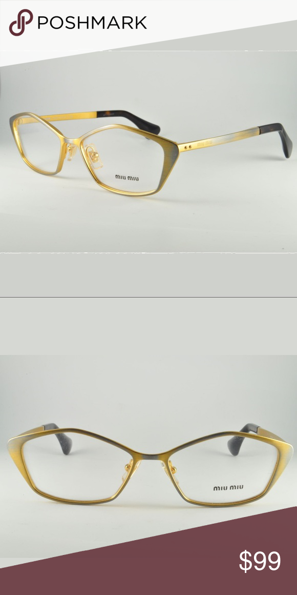 0a3aedec1d5 Miu Miu Cat-Eye Rx glasses Golden Gunmetal Brand new (never used worn