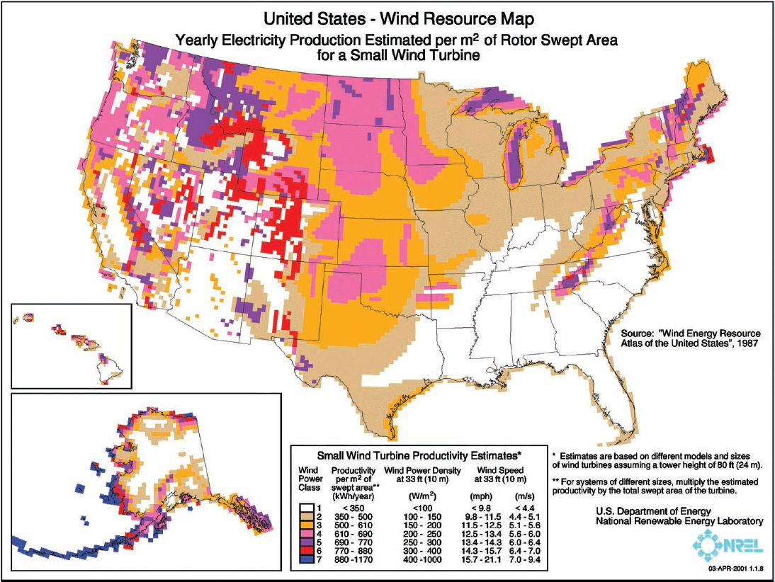 Map Of Best Locations For Wind Power Solar Biomass Energy