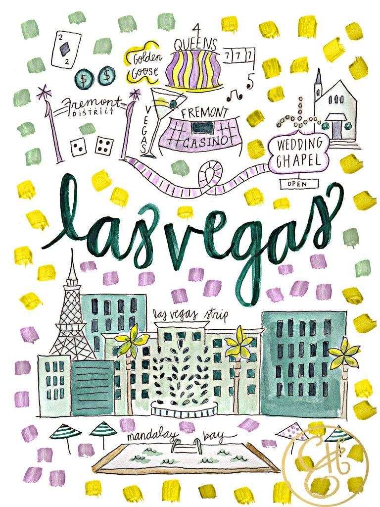 Las Vegas Map Print Viagens Albuns De Fotos Ilustracoes