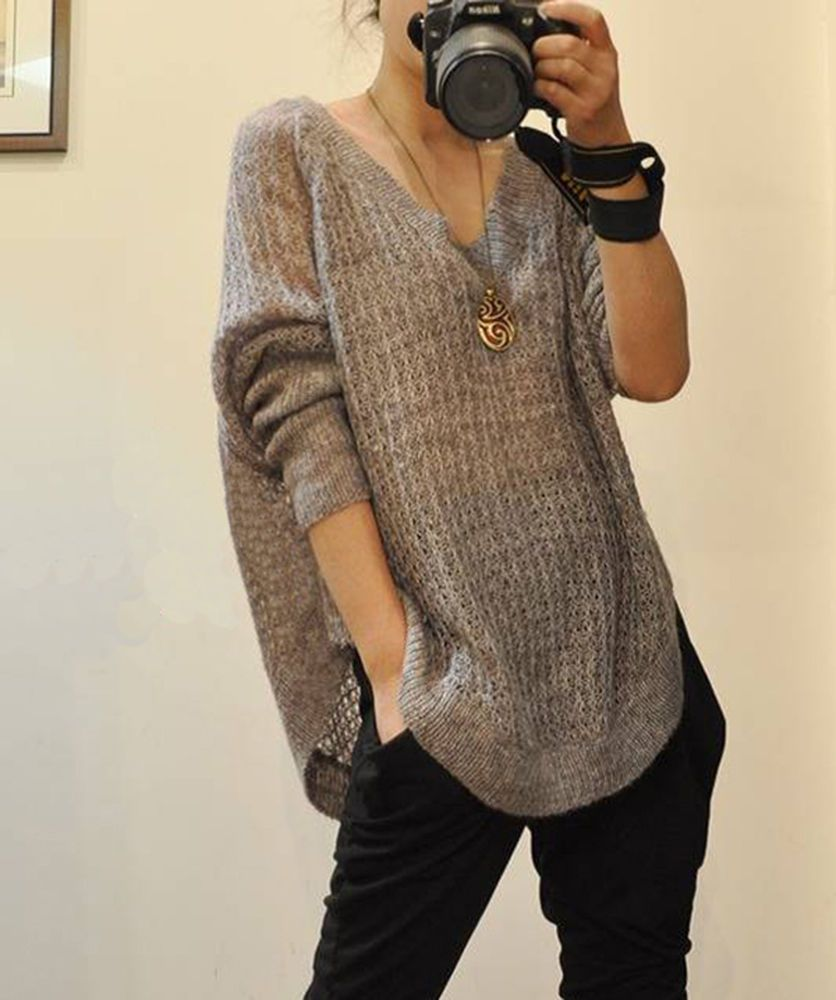 Loose Crochet Cut Out V Neck Batwing Sleeve Sweater Pullover Brown Black S M TVL #Unbranded #VNeck