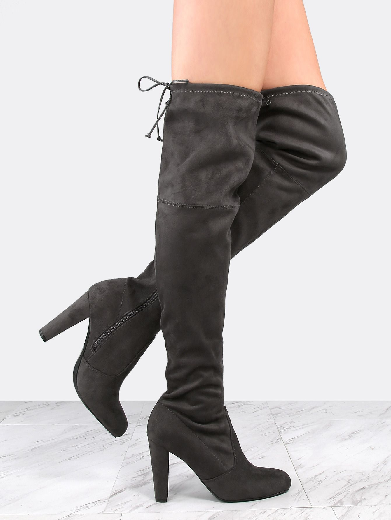 Online shopping for Tie Back Suede Chunky Heel Boots CHARCOAL from a great  selection of women's fashion clothing & more at MakeMeChic.