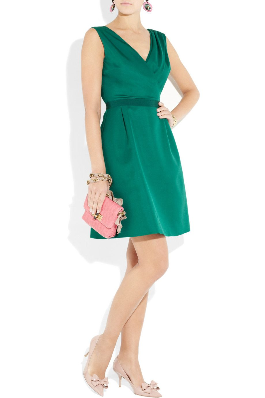 Giambattista Valli Teal Silk-Shantung Wrap-Effect Dress (Lanvin Bag, Valentino Shoes)