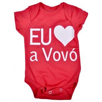 Body Bebê Frase Amo A Vovó Em Suedine Nuvem Baby Kids