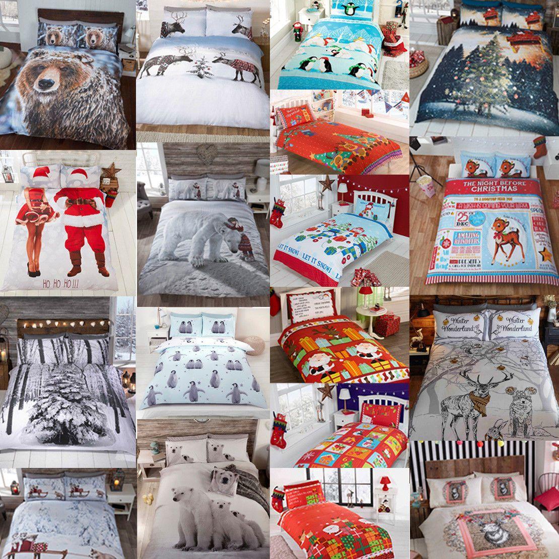 Winter Christmas Print Duvet Quilt Cover Bedding Set Pillowcases King Size