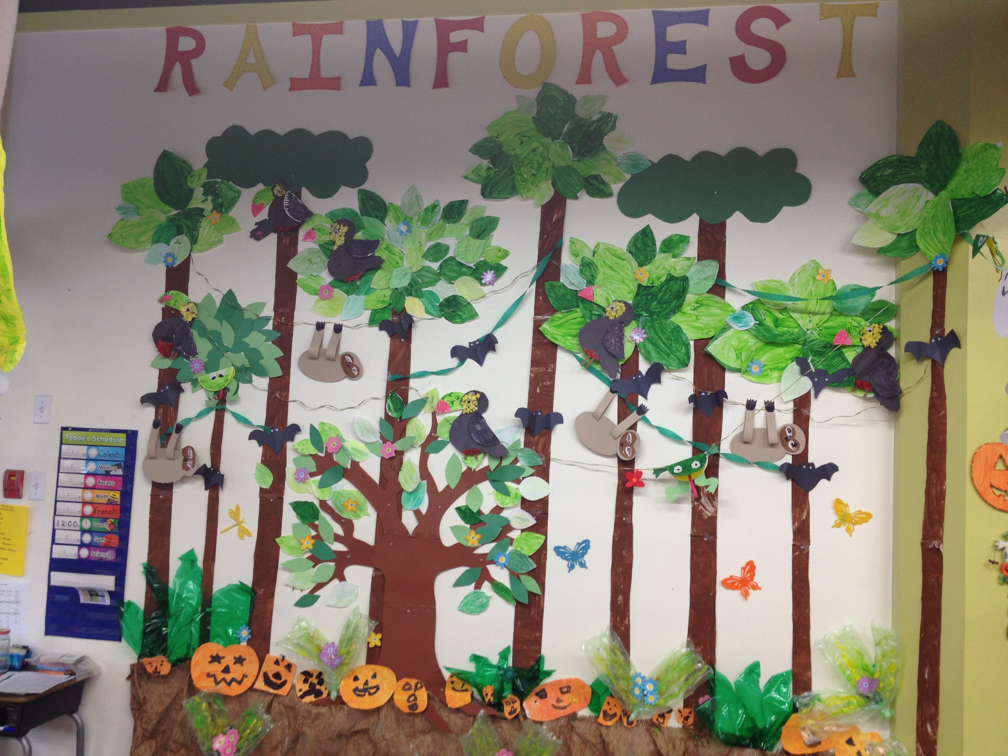 Rainforest classroom mural drama play rainforest for Art and craft for classroom decoration