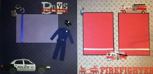 Police Fireman Scrapbook Layouts  www.ctscrapbooks.com