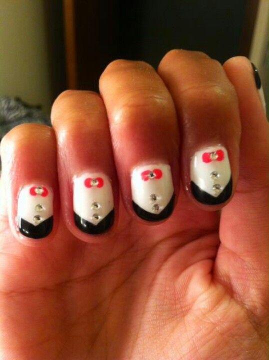 Tuxedo nails inspired by Zoey Deschanel (: