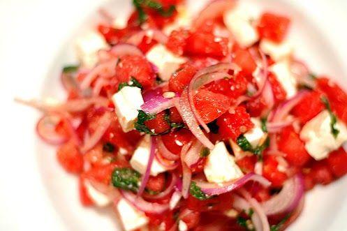 watermelon, feta, edamame bean and water cress salad