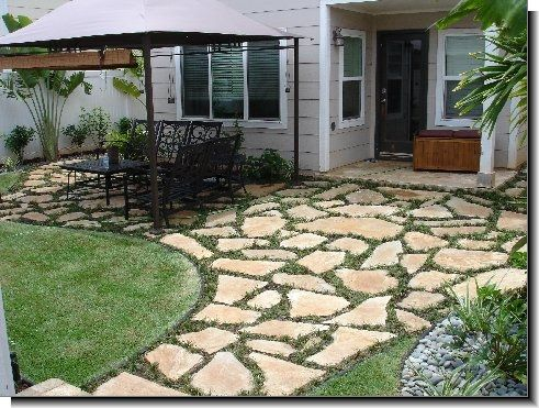 flagstone patio pictures | flagstone or travertine pavers - you