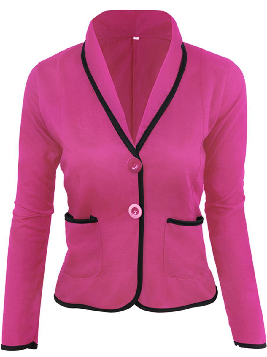 7b3c8a546f0f Shawl Collar Patch Pocket Blazer - CheapClothingCity.com  blazer  blazers   pink