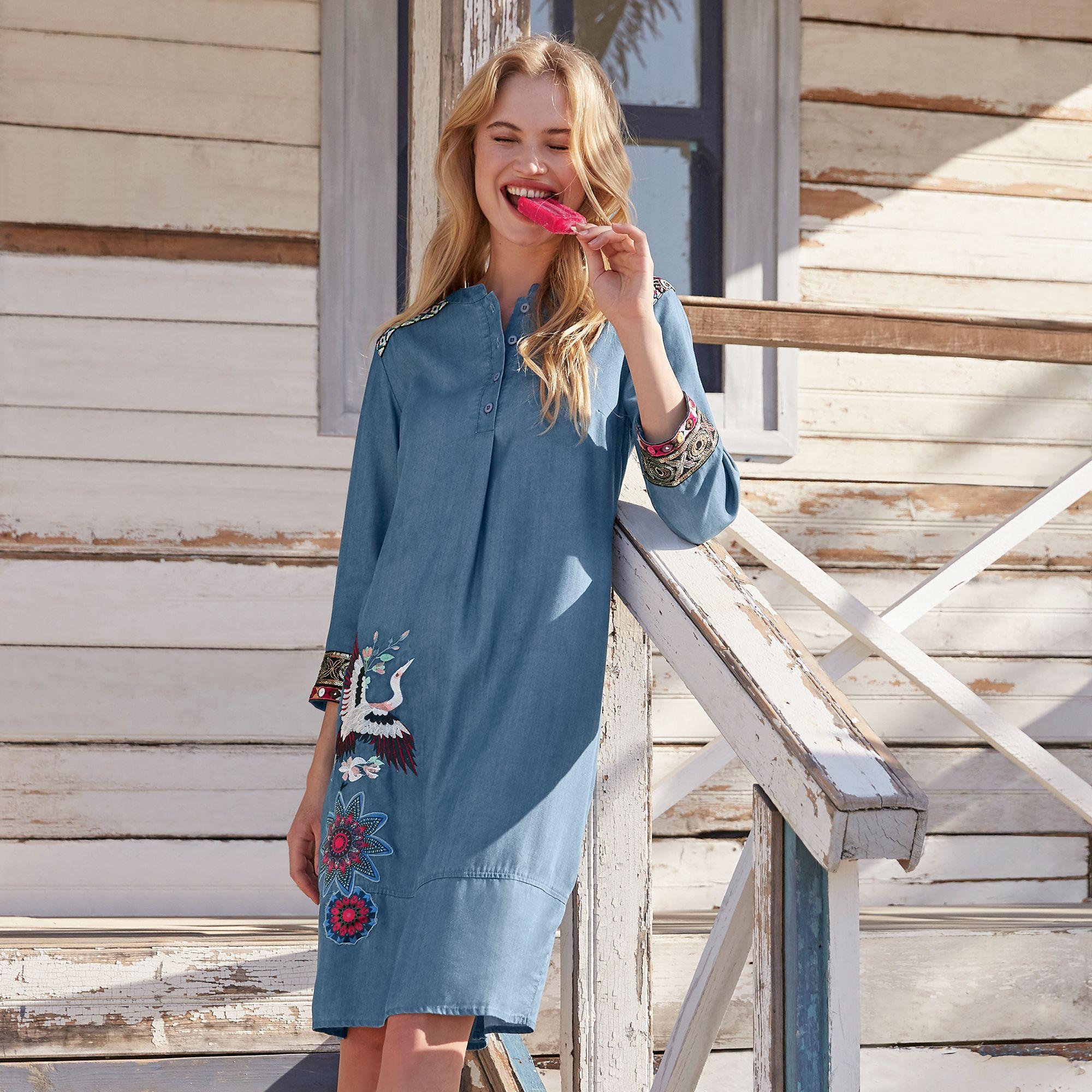 Pin Von Heine Auf Denim Looks Jeans Kleid Modestil Jeanskleid