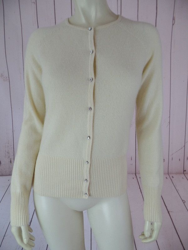 APT 9 Cashmere Sweater S Pale Yellow Faux Jewel Button Front Fine ...
