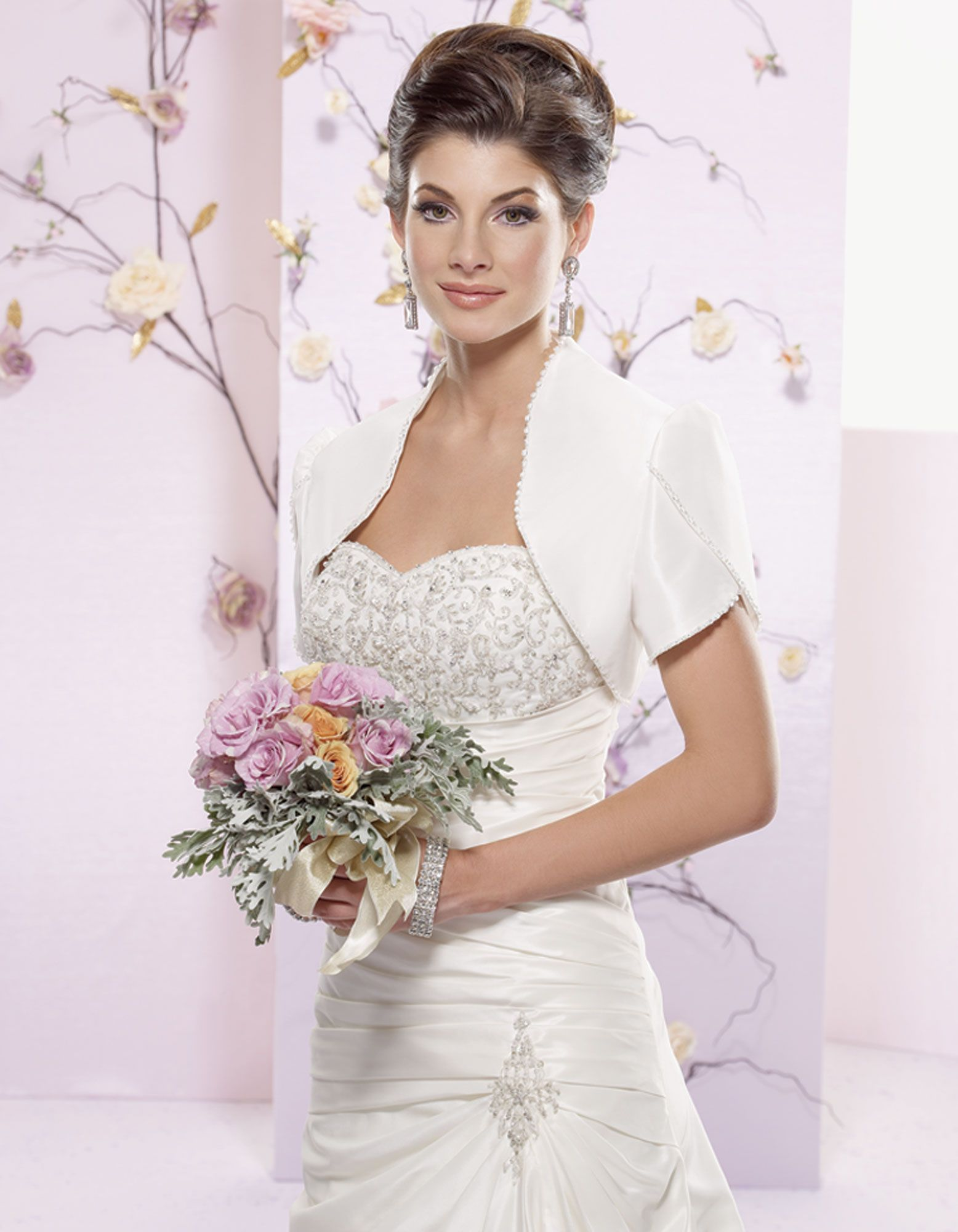 Glamorous short sleeve with beading wedding dress jacket | wedding ...