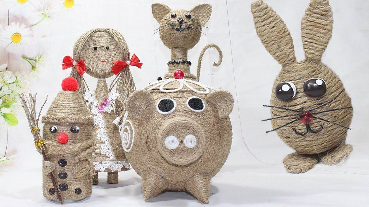 5 Diy animals from jute rope   Home decor handmade 2019 ...