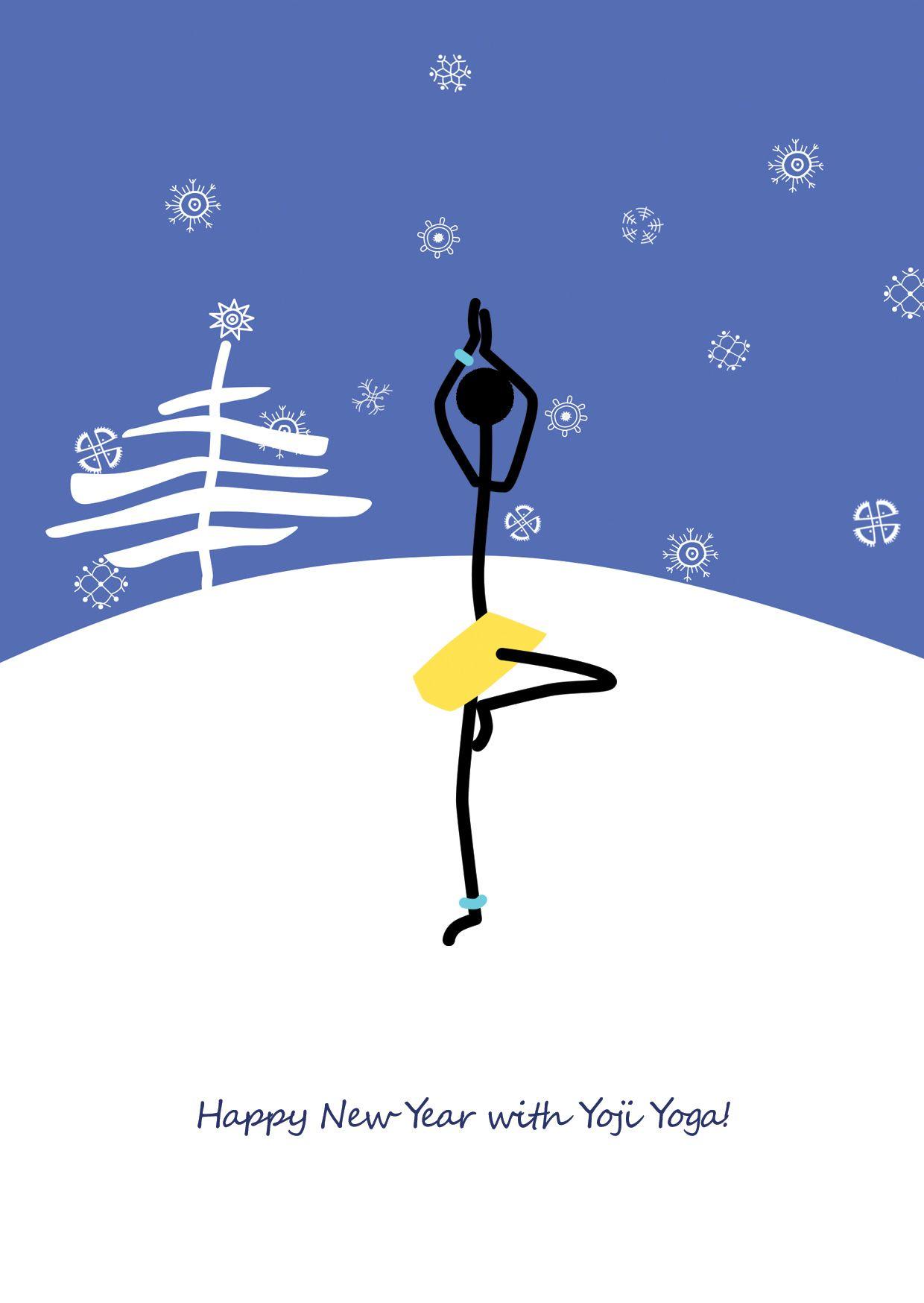 Happy Holidays Chrtistmas Yoga Yoga Christmascard Treepose