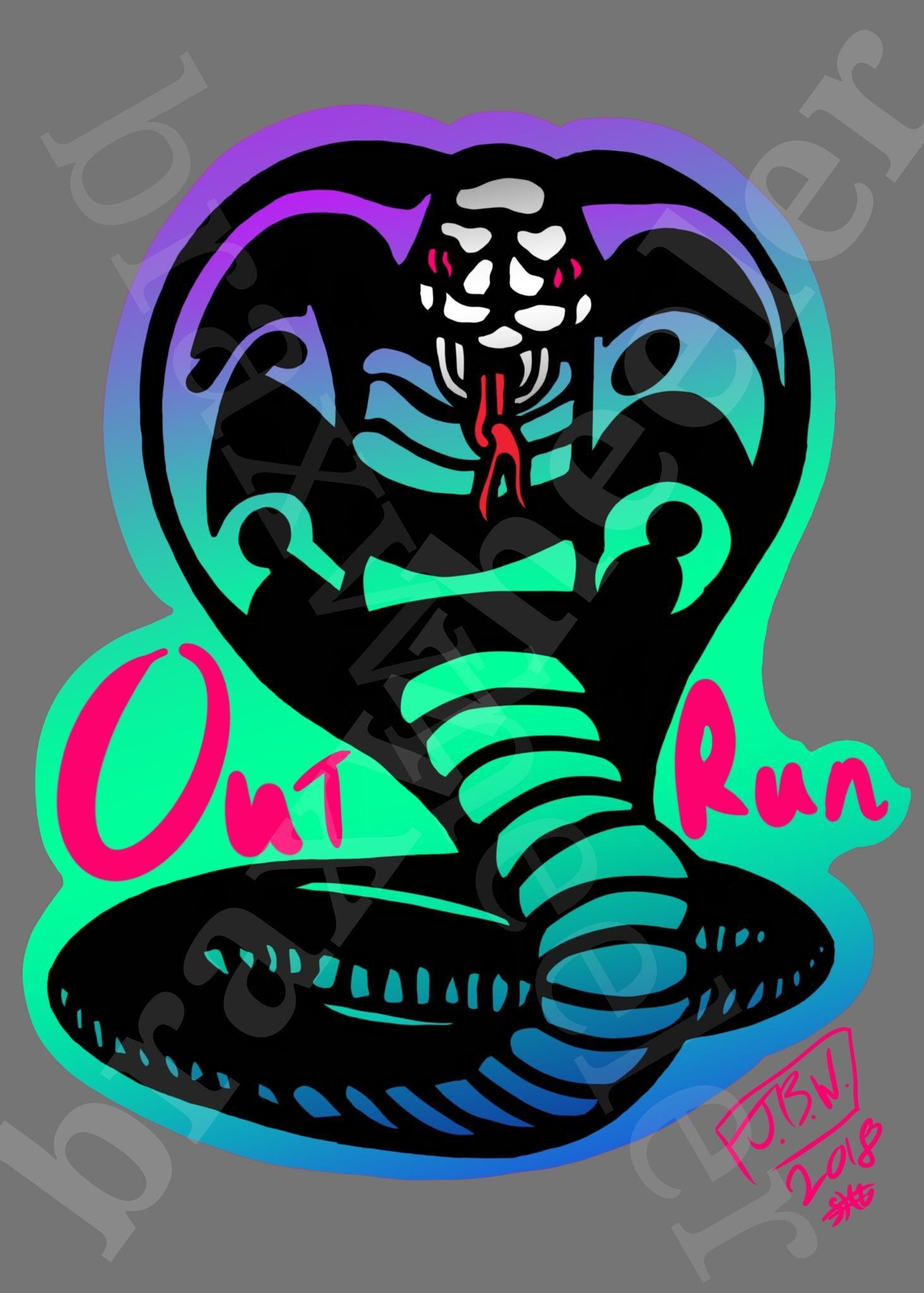 """An outrun inspired """"cobra kai"""" logo I made. Enjoy #outrun"""