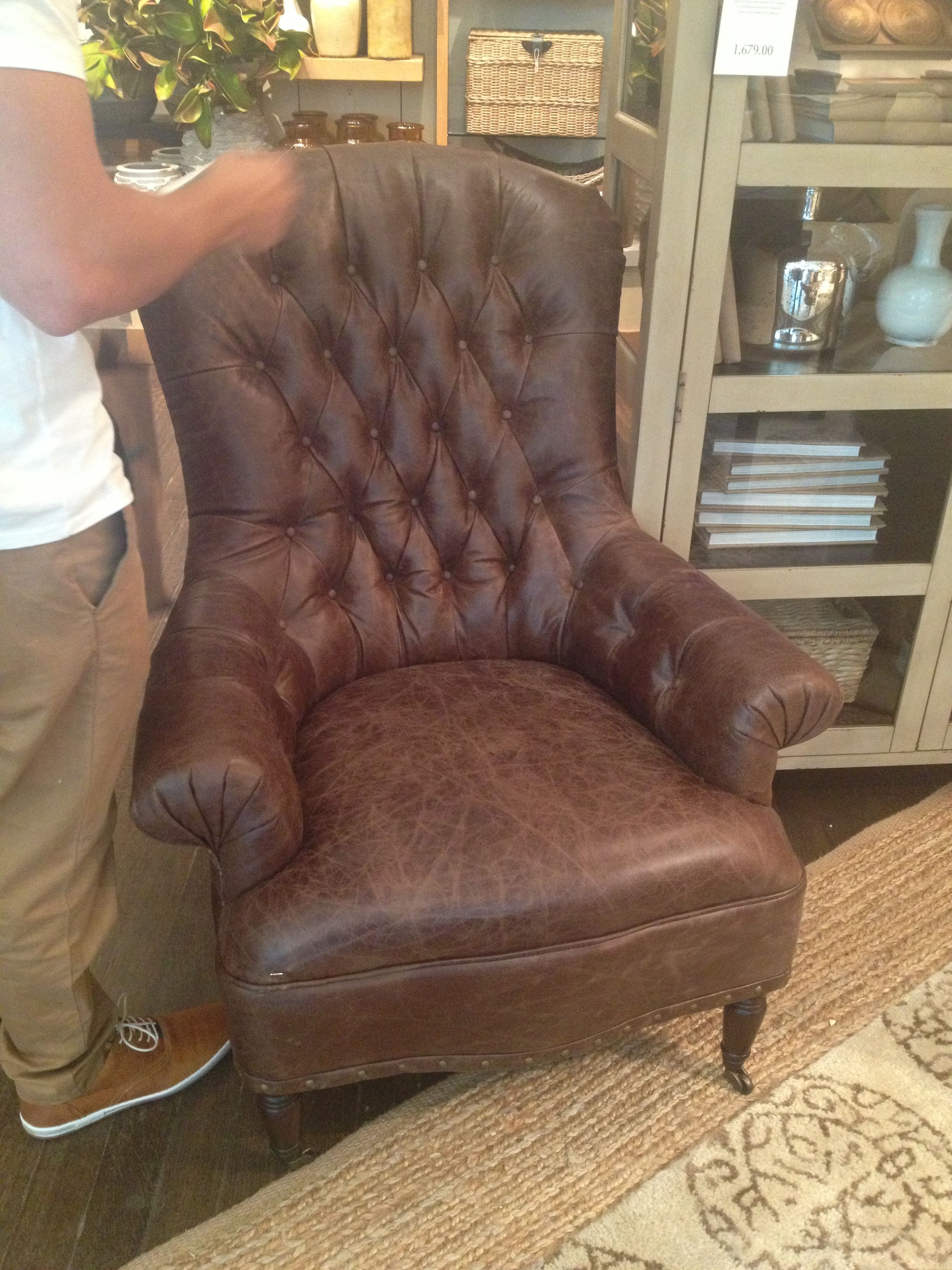 Pottery barn comfy leather chair, need this. Comfy