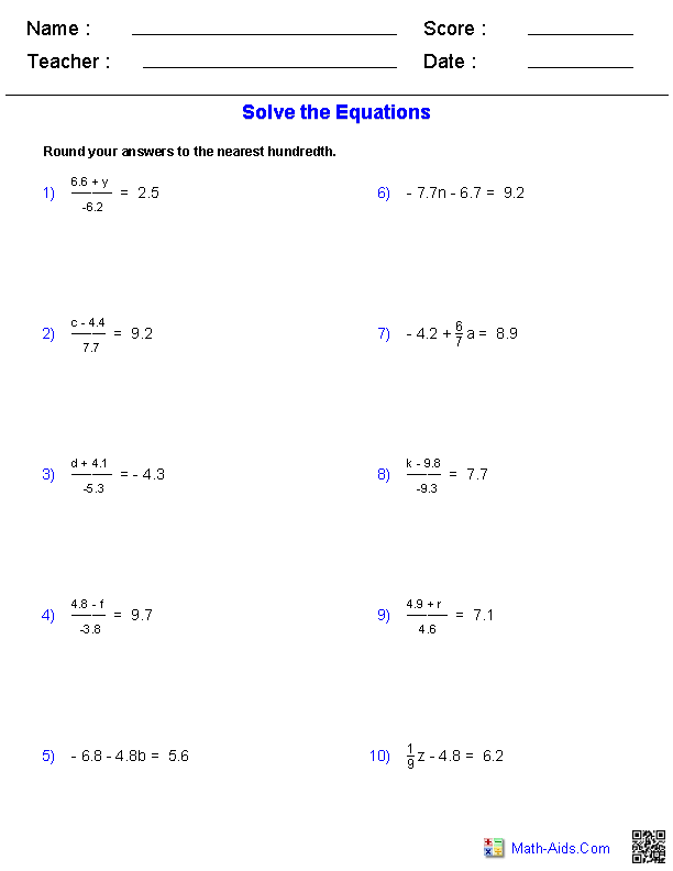 Two Step Equations Worksheets Containing Decimals  MathAidsCom