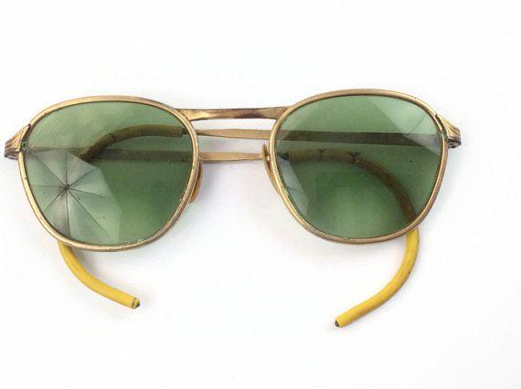 1950s authentic vintage military aviator sunglasses gold filled eyewear on  Etsy b85b7168dc5