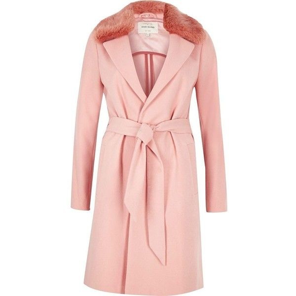 River Island Pink faux fur collar robe coat (£75) ❤ liked on ...